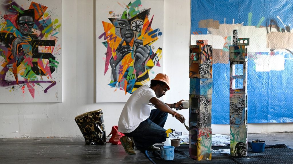 Norwalk, CT -  Thursday October 1, 2020: Ray Hardman interviews the artist JAHMANE at the Firing Circuits artists colony for Where ART Thou? Episode 6.