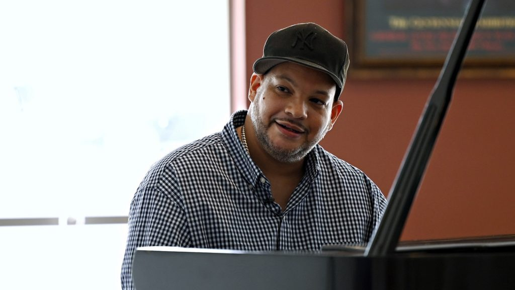 HARTFORD, CT -  Monday September 14, 2020: Host Ray Hardman interviews jazz pianist Damian Curtis for Episode 3 of Where Art Thou? at the Artists Collective in Hartford, CT.